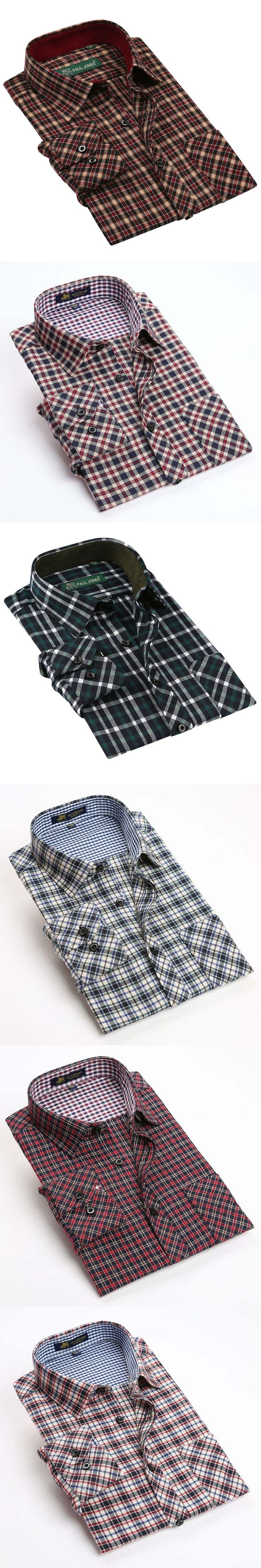 New 2017 spring Mens brand Long sleeve plaid shirts Flannel sueded shirts for men Thick warm shirt men 20 colors 100% microfiber