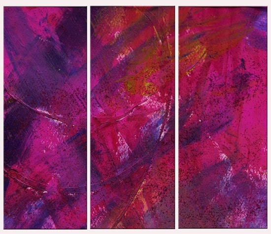 {washed in pink} mixed media abstract painting (original sold) photo captured then paneled for the aamora triptych project www.aamora.com