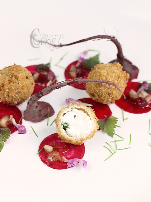 "Almond Corner: Beet salad and crispy fried goat's milk cream cheese with rhubarb-green fir ""honey"" vinaigrette"