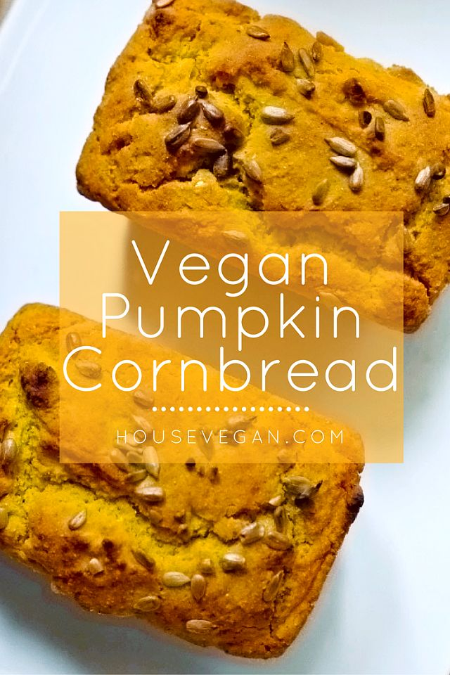 Vegan Pumpkin Cornbread - This vegan cornbread recipe is so yummy, and goes amazingly with hearty vegan chili. It's also a great fall baking project for those cool autumn nights!