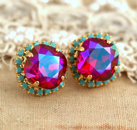 Rhinestone studs Ruby fuchsia blue Turquoise Swarovski crystal earrings, gift for woman, fashion jewelry - 14 K Gold plated prom earrings.