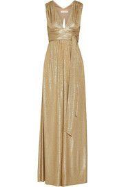 Belted metallic cloqué gown