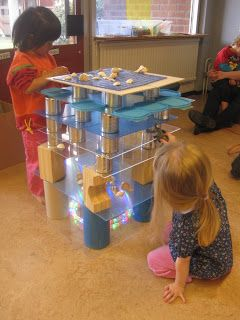 Construction play with plexiglass and loose parts at Bäckens teknikresa: Projekt Hav och Hajar ≈≈