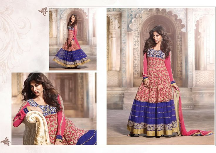 $99.00 Style Diva Fuchsia & Royal Blue Net Salwar Kameez. This wonderful dress Is showing some incredible embroidery done with jaal work, lace, resham, stones  http://www.sareeonline.com/proj/gallery/fullview.aspx?scode=brk097
