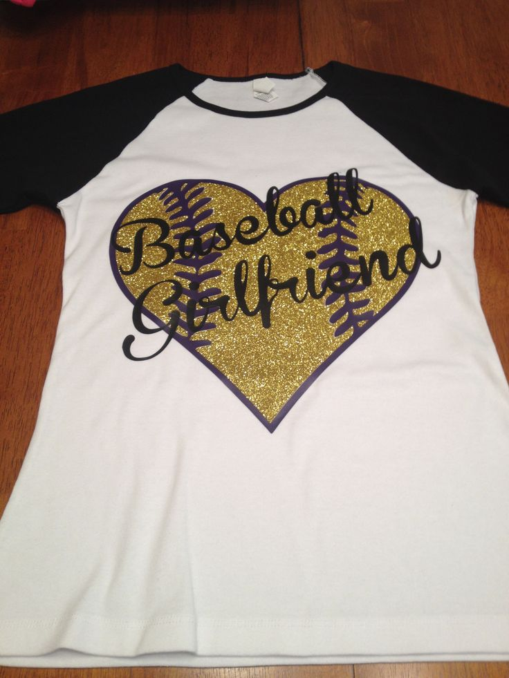 "Heat vinyl "" baseball girlfriend "" shirt in school colors ( purple gold)"