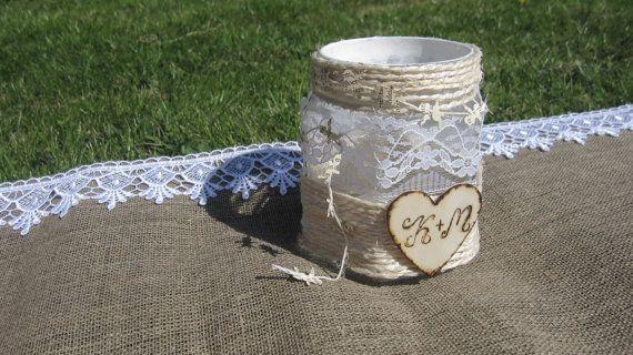 RUSTIC Personalized WEDDING Mason jar Candlestick by moniaflowers