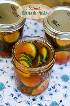 Refrigerator pickles are incredibly easy to make at home. Sriracha adds a little heat and lots of flavor! ~ https://www.fromvalerieskitchen.com