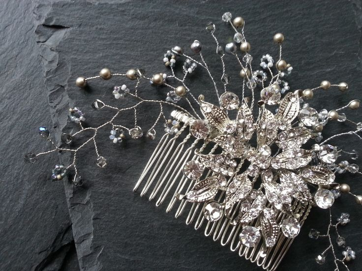 Bridal hair comb made with vintage diamanté brooch and wire wrapped Swarovski crystals and pearls by Care Lloyd www.vintagebuttonbridaldesigns.co.uk