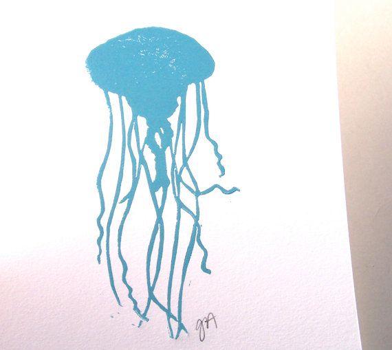 LINOLSCHNITT Drucken  blaue Qualle LETTERPRESS von thebigharumph