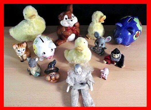 15 Keramikfiguren - Pirot Katze Maus Kürbis Sparschwein Hase Küken Nikolaus +
