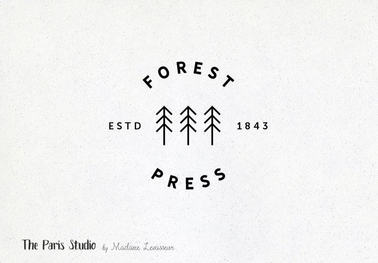 Vintage Badge Tree Logo Design by Madame Levasseur, The Paris Studio