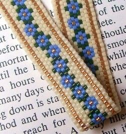 Pattern PDF File Peyote Forget Me Not Bookmark. $6.00, via Etsy.