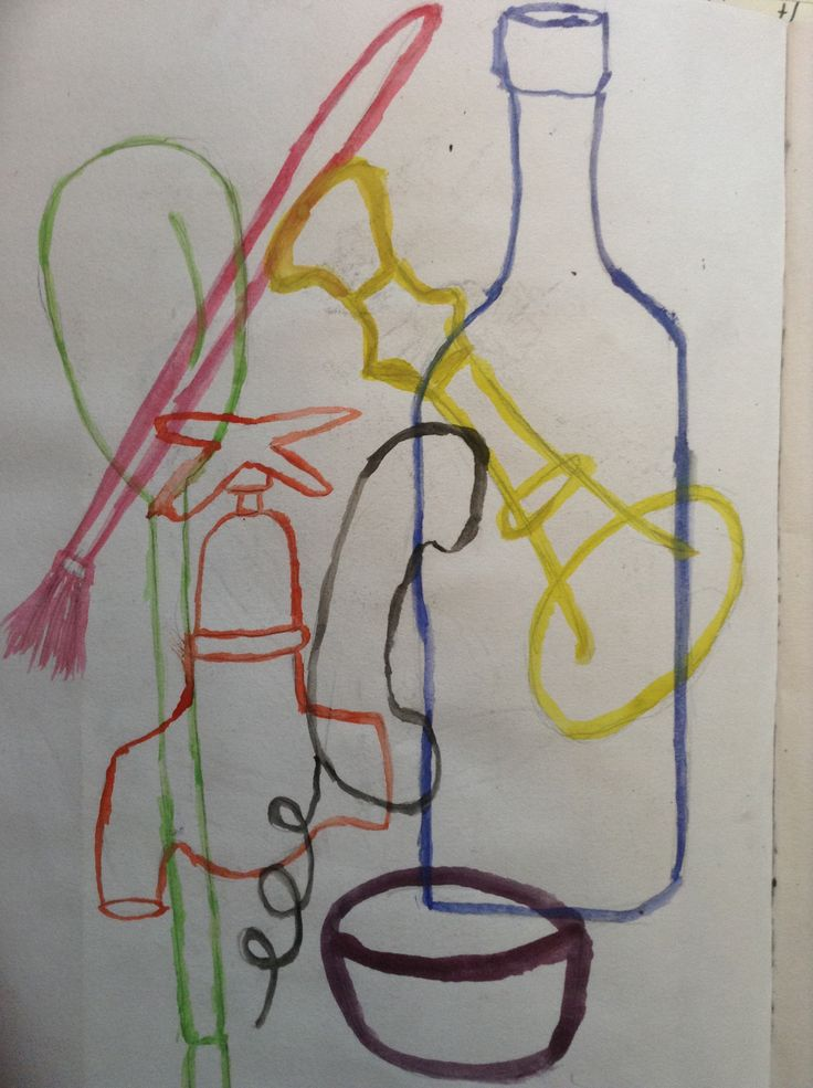 Michael Craig Martin inspired overlapping outlines painting