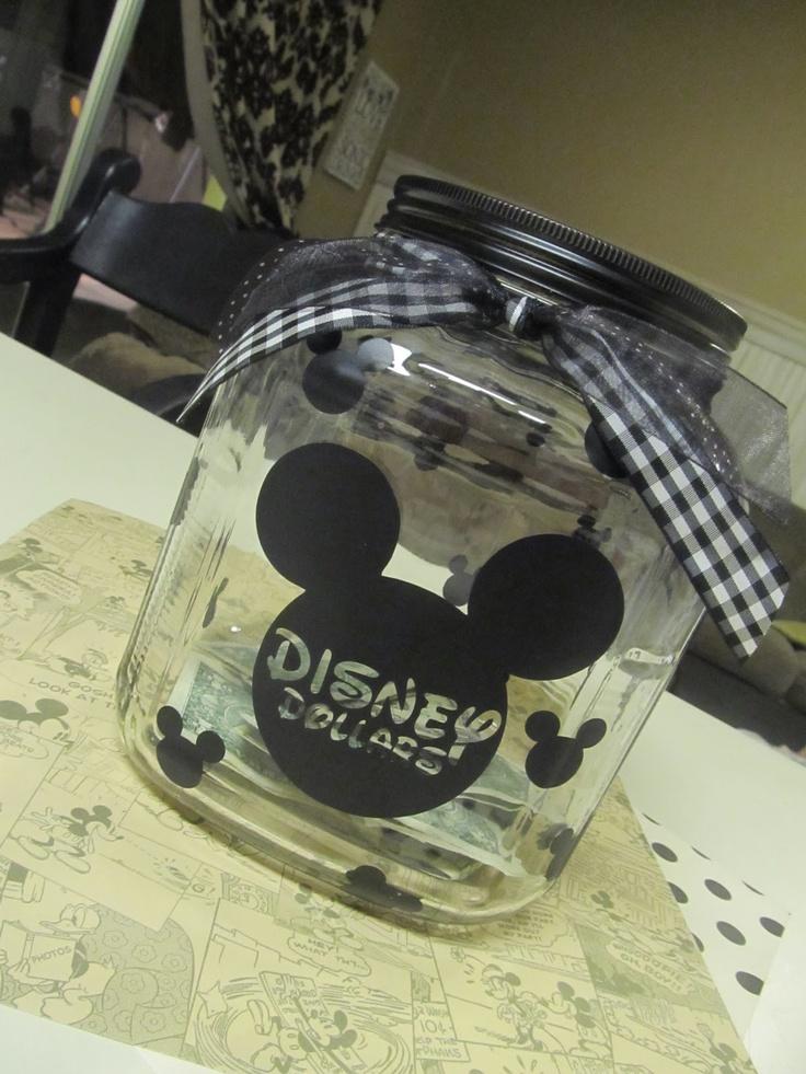 Cute way to save for Disney: For Kids, Cute Ideas, Disney Trips, Disney Vacations, Saving Jars, Disneyland, Spending Money, Disney Worlds, Disney Cruises