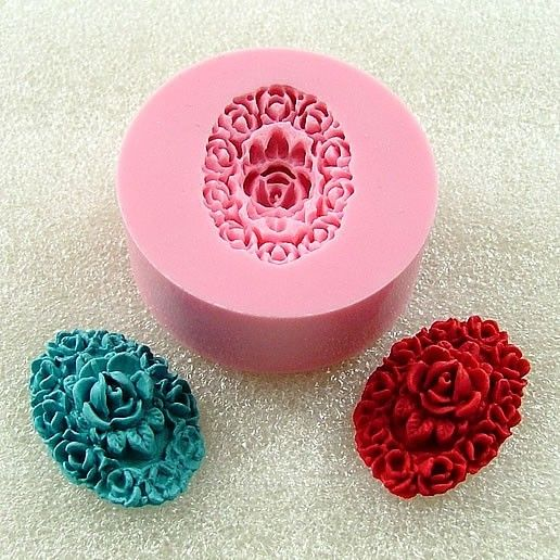 Filigree Rose Oval Cabochon  Flexible Mini Mold/Mould (24mm) for Crafts, Jewelry, Scrapbooking   (resin,  pmc,  polymer clay) (123) on Etsy, $5.00