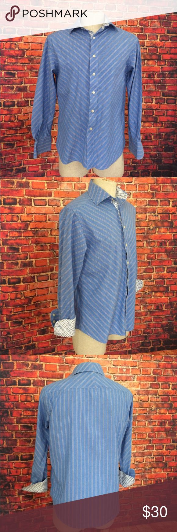 Robert Graham R & G Striped Plaid Contrast Shirt M Robert Graham R & G Blue Striped Plaid Contrast Shirt M Robert Graham Shirts Casual Button Down Shirts