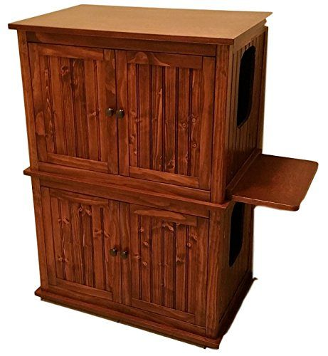 Double Stacked Cat Litter Box Cabinets Made in USA Wood not MDF Red Mahogany ** You can find more details by visiting the image link.(This is an Amazon affiliate link and I receive a commission for the sales)