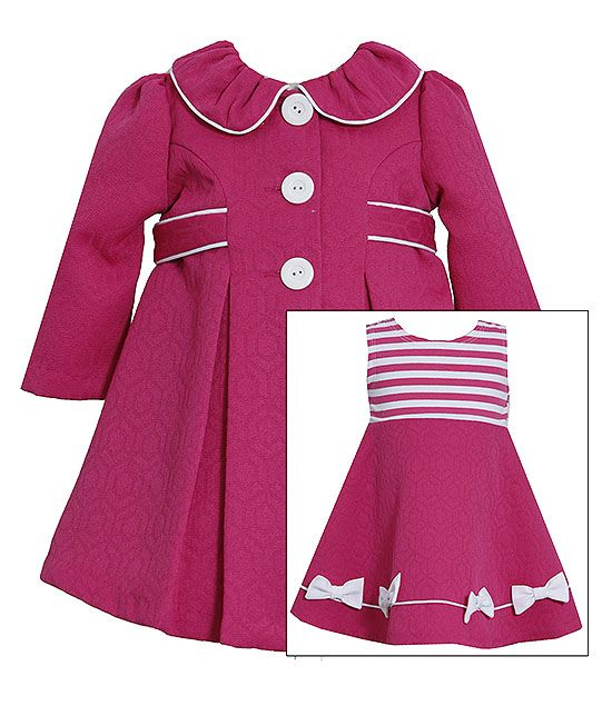 Get a complete elegant and stylish look with this Bonnie Jean Fuchsia Stripe Jacquard Dress and Coat 2pc set! (sz.12m-6x) #Easter