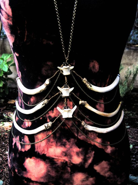 Deer Ribcage Body Harness with Raccoon Vertebra by AdornedImmortal, $200.00
