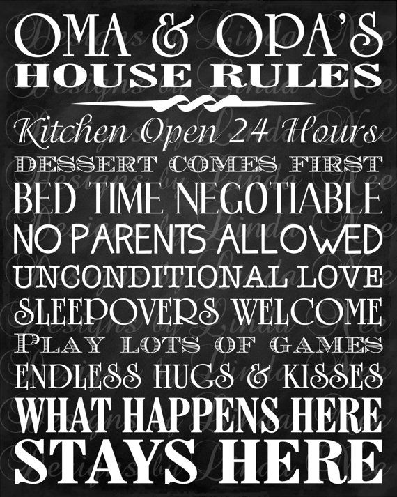 House Rules Printable Oma and Opa's House Rules -Subway Art Wall Printable- You choose one size - 4x6, 5x5, 5x7, 8x8, 8x10, 10x13, 11x14, 12x12, 16x20.