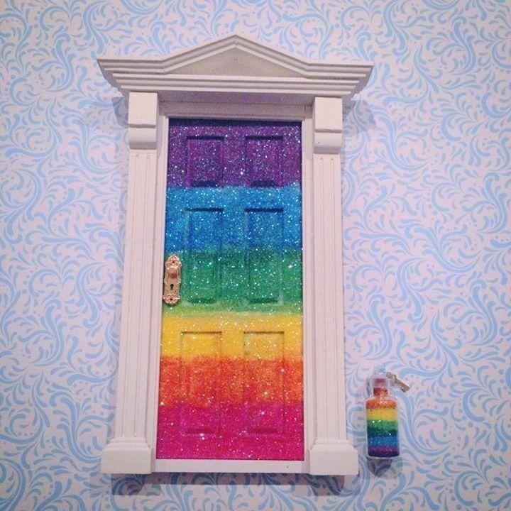 Rainbow glitter fairy door by Pretty bürd www.facebook.com/prettyburd