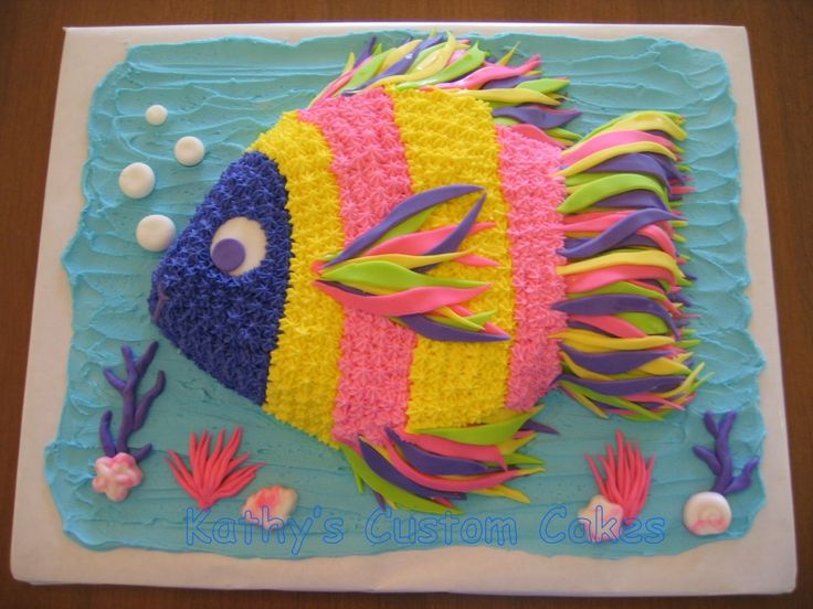 Tropical Fish Cake.  Maybe use orange instead of pink to make it more gender neutral.