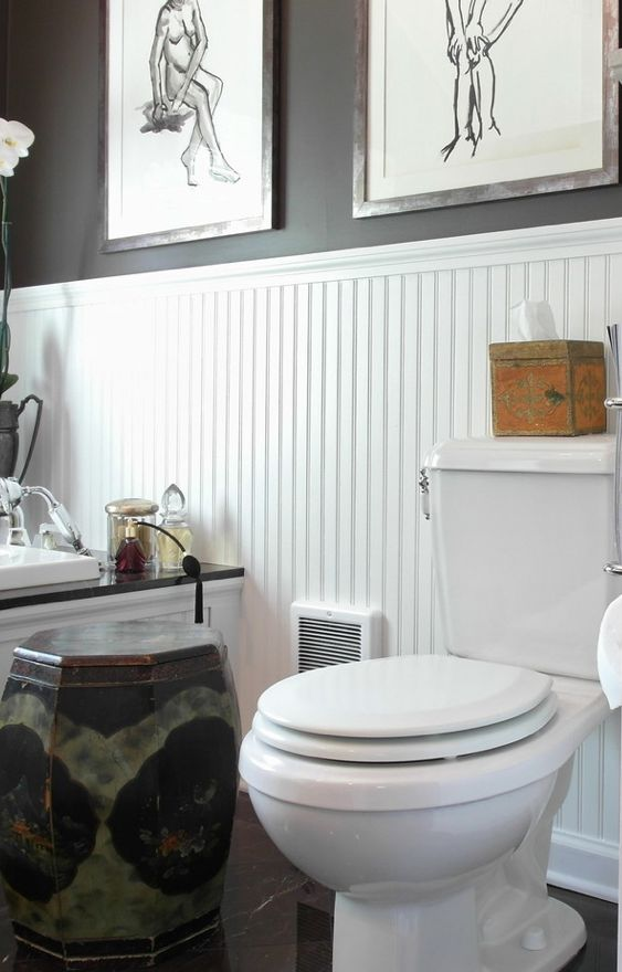 Wainscoting In The Bathroom Is Just Always Pretty Black Walls And Matching Garden Stool