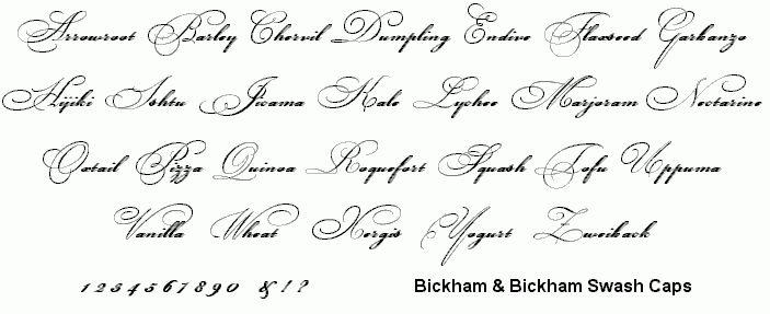 Bowfin Printworks - Script Font Identification - Elegant Elaborate Ornate Script - Type Samples
