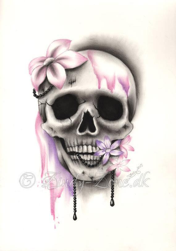 Sweet Decay Skull Flower Pink Purple Girl Tattoo Pearls Art Print Emo Fantasy Girl Zindy Nielsen   – cool