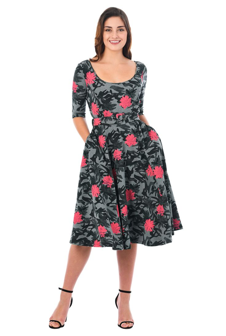 Our cotton jersey knit dress in a cool camo print is styled with a scoop neck, princess seamed bodice and a full flared skirt for classic fit-and-flare flattery.