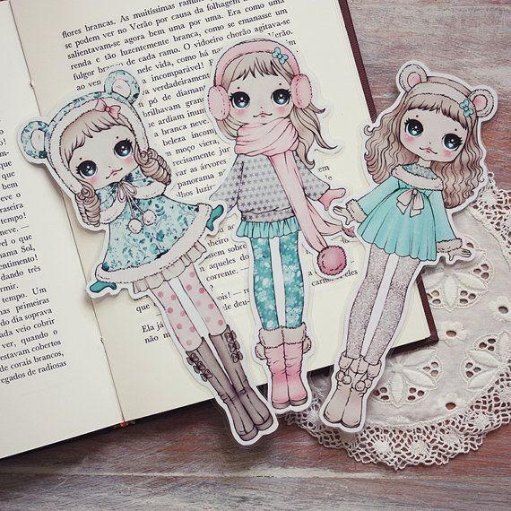 Snow girl set of 3 bookmarks by ribonitachocolat on Etsy