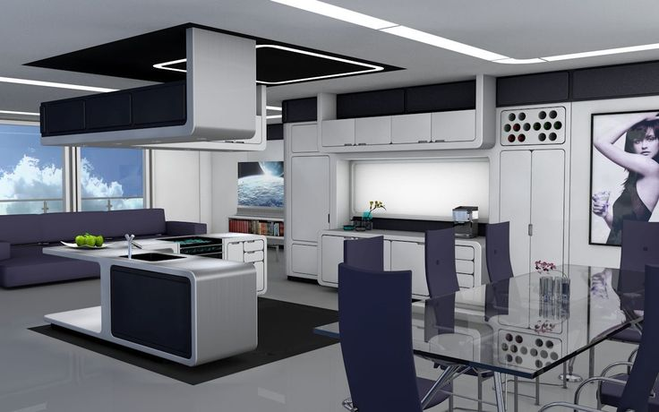 Kitchen Living Room Scifi
