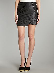 neon rose leather Zip mini skirt  www.rokii.co.uk
