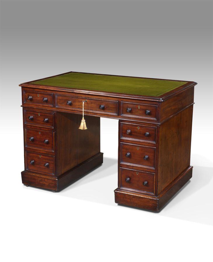 Small antique desk, pedestal desk, leather top desk : Antiques UK - Georgian Furniture - Regency Furniture - Victorian Furniture -