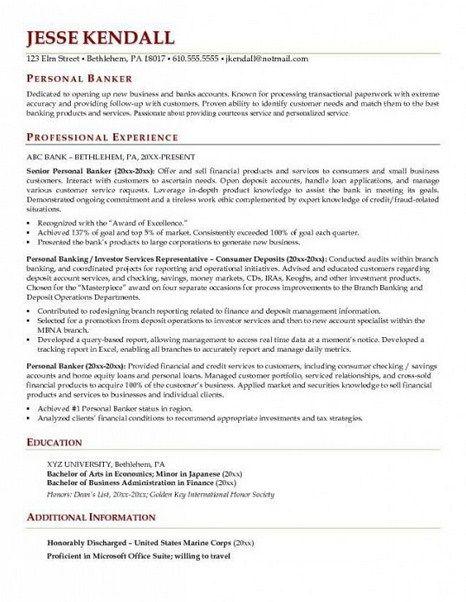 Resume For Personal Banker - http://topresume.info/resume-for-personal-banker/