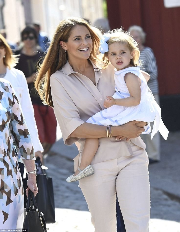 Princess Madeleine carried her young daughter, Princess Leonore, on her first visit to her duchy, Gotland.