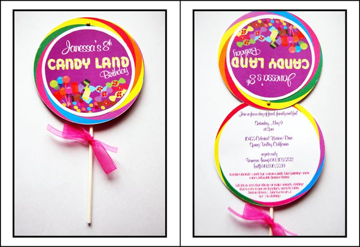 Candy Land Party Invites (Like the ones I did for Katelyn's Birth announcements, but with a sucker attatched at the back!