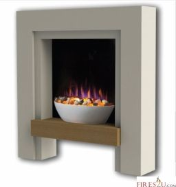 The Gallery Alto electric fireplace suite is a stylish freestanding contemporary electric fireplace suite in a cool white finish with oak veneered shelf. Ready assembled and fully finished, simply unbox and plug in. Designed to suit either an existing chimney or against any flat wall.  The main features of this electric fireplace suite are -  • Finish: cool white surround with oak Veneered shelf  • Contemporary bowl with grey and white pebbles  • LED flame effect with high gloss back panel…