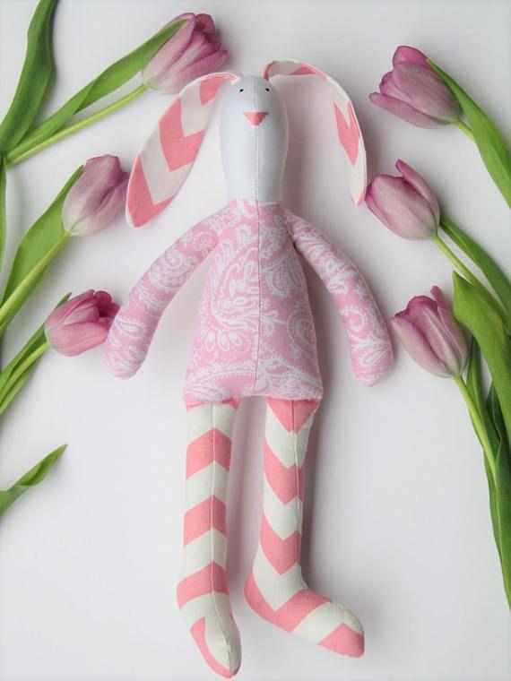Stuffed rabbit toy bunny pink white paisley chevron hare plush