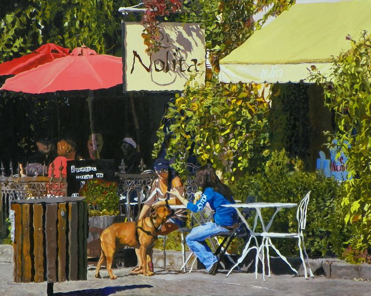 Nolita's Café Urban landscape oil painting by Kenneth Young www.kenyoungfineart.com