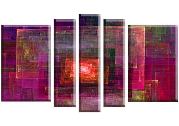 Tablou Fractal 2285 Dimensiuni: 2x 45x70 - 2x 20x80 - 1x 20x90 cm Total: 150x90 cm