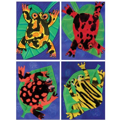 Ink Blot Dart Frog Collage - Project #166 - United Art and Education w/ Sargent Art construction paper crayons