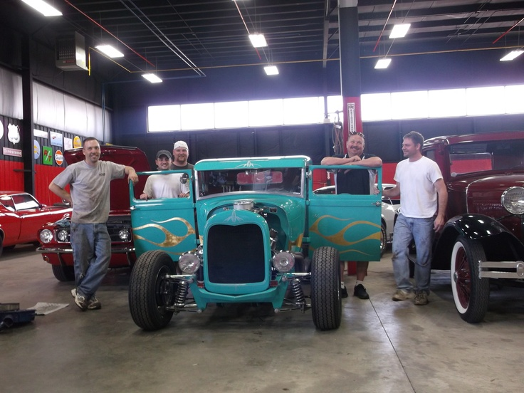 Gold Leaf and Flames on 29 Ford Coupe by Lil' Dickie ~ with Greg and his crew from Vanguard Auto Sales