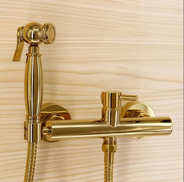 New arrival hot sale gold bidet faucet high quality brass wall mounted bathroom bidet faucet set with 1.5M plumbing hose