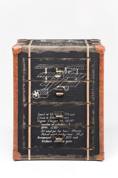 Συρταριέρα Aviation (4 Συρτάρια) Υπέροχη συρταριέρα με τεχνητή παλαίωση, ιδιαίτερα και κομψά στοιχεία και προσεγμένες λεπτομέρειες. Η απεικόνιση ενός κλασικού αεροσκάφους κουβαλά μνήμες άλλων εποχών που θα σας ταξιδέψουν στο παρελθόν! Υλικά: κατασκευασμένο από MDF, σίδηρο, σεντόνια και δερματίνη (polyruethan).