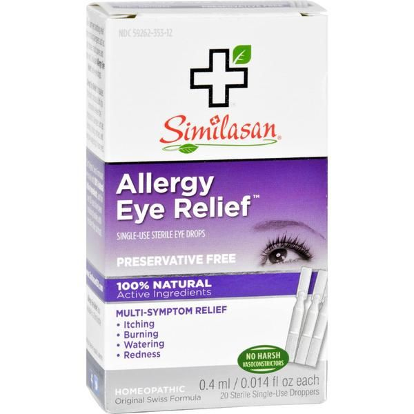 Similasan Allergy Eye Relief Description: Relieves Itching, Burning and Watering Associated with Allergies Homeopathic Preservative Free Original Swiss Formula