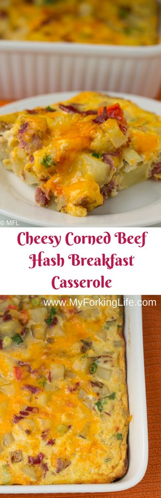 Cheesy Corned Beef Hash Breakfast Casserole. Great for St. Patrick's Day. Meal prep breakfast.