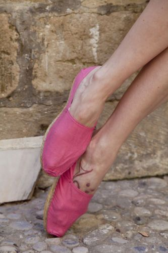 Vintage Bright Pink Espadrilles. Cotton, Rope, Rubber. Size US 9