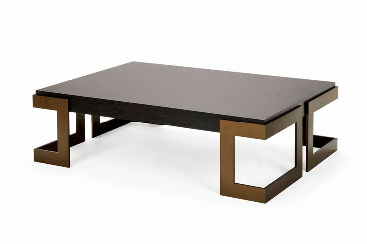 Pinterest update: Angulus Coffee Table in a textured bronze finish with a smoked oak top.