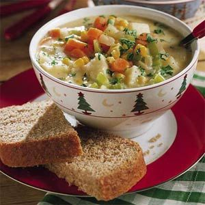 Cheesy Vegetable Chowder Recipe 3 1/2 cups chicken broth 8 celery ribs ...